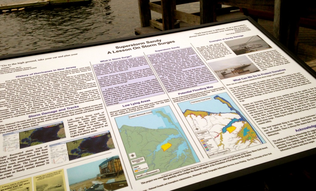 An informational sign/map of Sandy and other storm surges' history and protection guidelines was conceived and crafted as a Gold Star Girl Scout project by Fair Haven's Caroline Peters. Photo/Elaine Van Develde