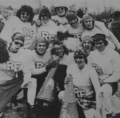 The role reversed cheerleaders of RFH Powder Puff Football 1977. Photo/RFH yearbook screenshot