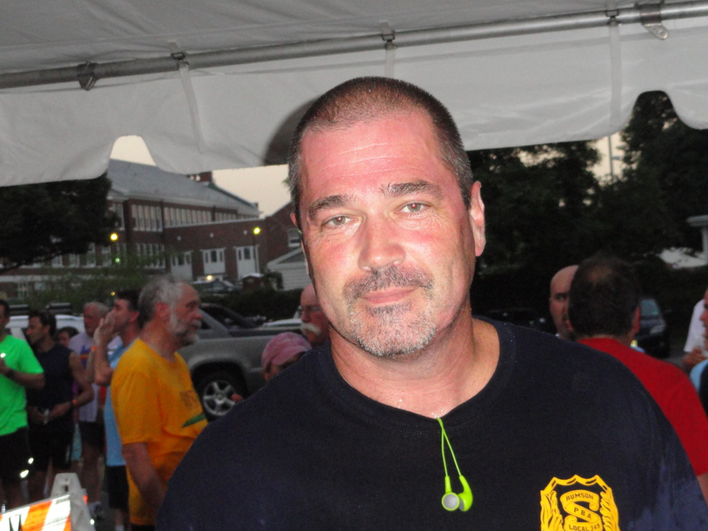 Rumson Police Chief Scott Paterson at the Aj.J. Bruder Memorial Rumson Run.  Photo/Elaine Van Develde