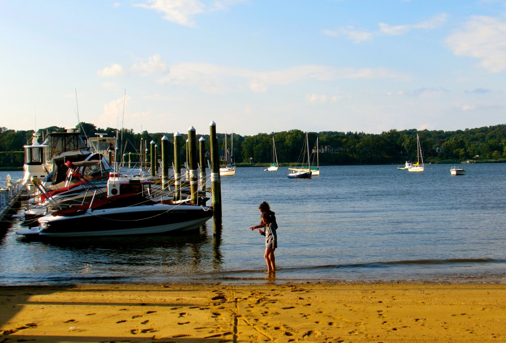 On a spring day in 2013, best friends hunt for hermit crabs and soak up some sun down by the Navesink River in Fair Haven. Photo/Elaine Van Develde
