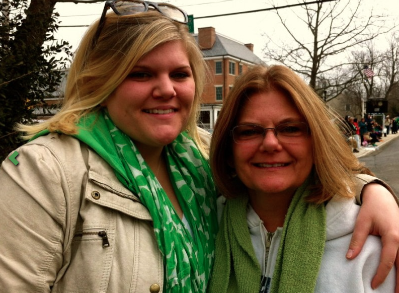 Kylee and Ruth Wallman, of Fair Haven,  at the first Rumson St. Patrick's Day Parade. Photo/Elaine Van Develde