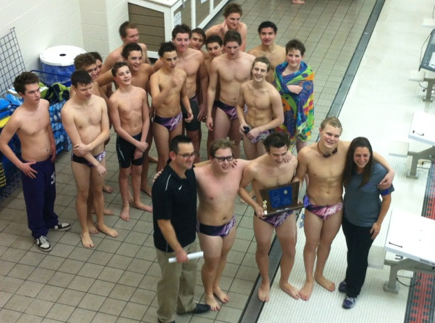 The RFH Boys Swim Team captured the program's first state sectional championship on February 12 with a 95-75 win over Lawrence High School. Photo/courtesy of RFH