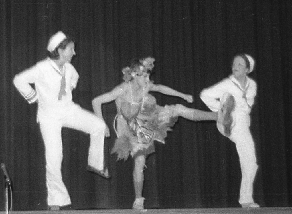 RFH Freshman Follies 1975 rendition of Honey Bun with Stephanie DeSesa, Ward Tietz and Elaine Van Develde Photo/George Day