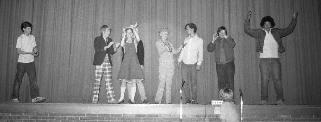 Actress Natalie Schafer, Lovey on Gilligan's Island, visits the RFH Freshman Follies circa 1975. Photo/George Day