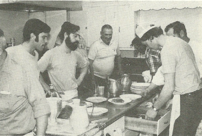 The guys in the kitchen at the Fair Haven Volunteer Fire Company Pancake Breakfast in the 1970s. Photo/screenshot of fire company yearbook