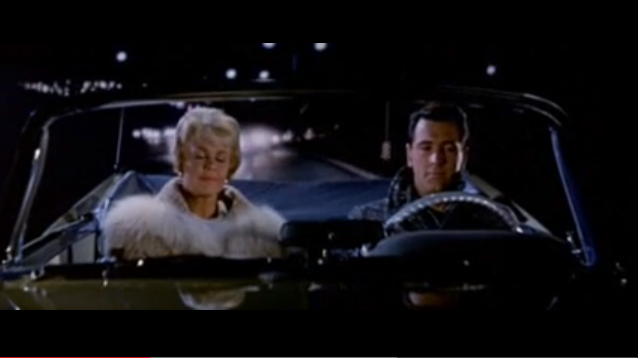 "Doris Day and Rock Hudson crossing the Oceanic Bridge in the movie ""Pillow Talk"" Photo/screenshot of movie clip"