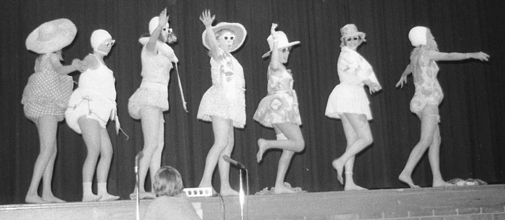 The girls of the Class of '78 perform 'Girls on the Beach' in special way at the Freshman Follies. Photo/George Day