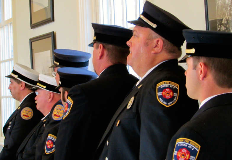 Rumson firemen at the borough's 2015 reorganization ceremony Photo/Elaine Van Develde
