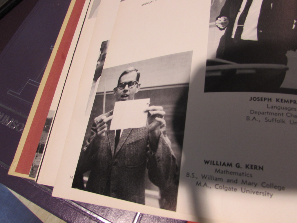 Former RFH math teacher Bill Kern in a 1960s RFH yearbook.