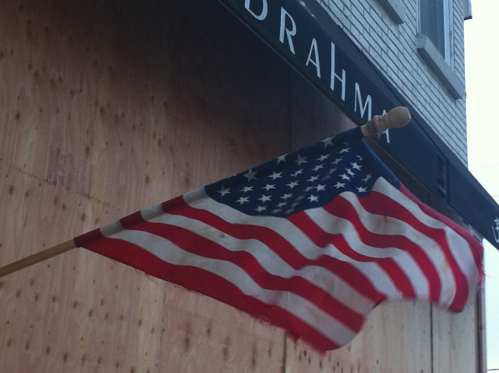 Sea Bright storefront patriotism in Hurricane Sandy's aftermath Photo/Elaine Van Develde