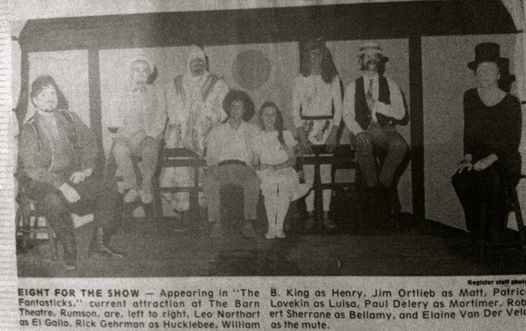 "Clip of press photo for The Barn Theater's production of ""The Fantasticks"" in the summer of 1977"