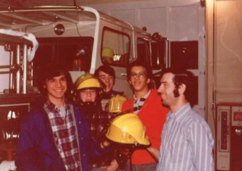 Fireman and boys of the RFH Class of '80 Photo/courtesy of Ray Bennett
