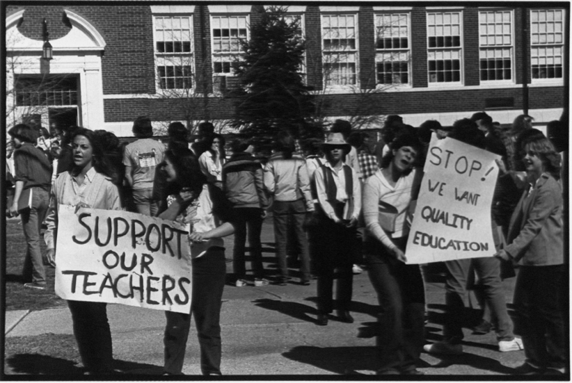 RFH students staged a walkout in 1979 protesting three teachers' terminations. Photo/screenshot of Red Bank Register negative archives, Monmouth County Library exhibit