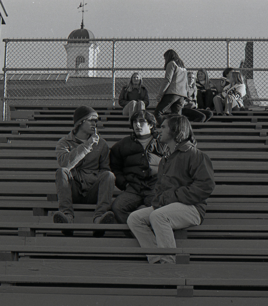 Some RFHers from the Class of '79 hanging out in the football bleachers of Borden Stadium. Photo/George Day