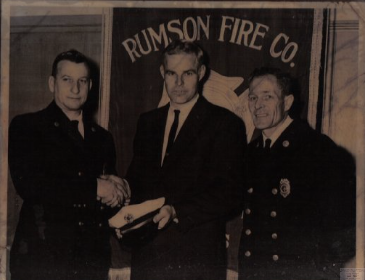 Rumson Fire Department line officers Joseph Brennan Slocum (chief), Bill Murphy and Kenneth Patrick Marass circa 1965. Photo/courtesy of Jo Ann Slocum Mazzucca
