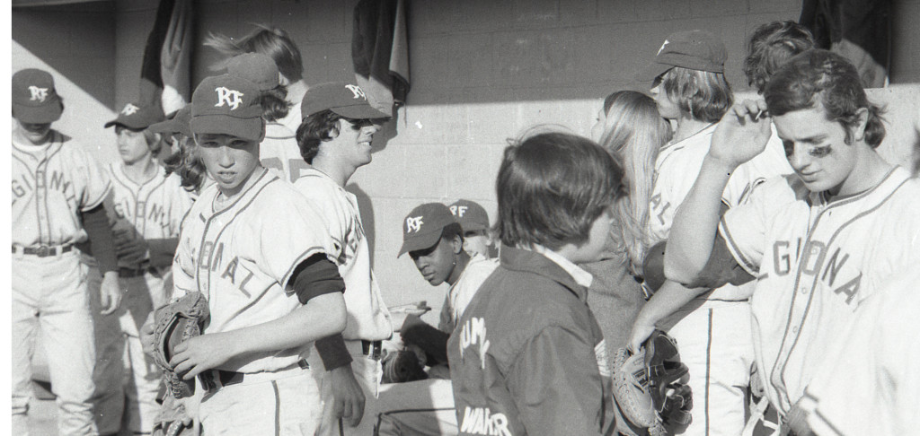 In the baseball dugout with RFHers of the 1970s Photo/George Day