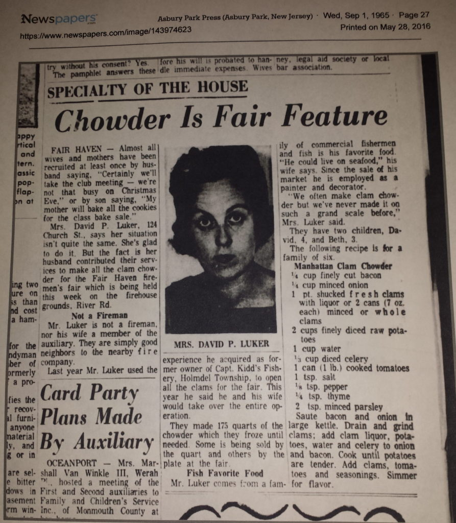 Fair Haven Firemen's Fair's chowder recipe in the Asbury Park Press circa 1965 Clipping Photo/courtesy of Dave Luker