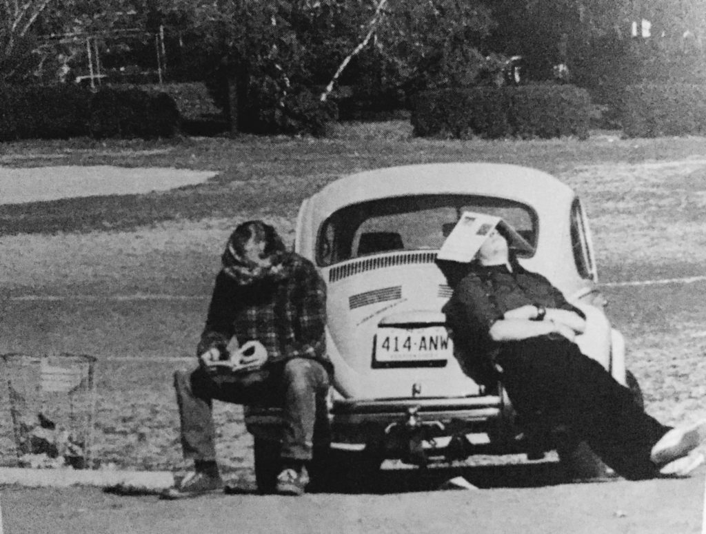 Lounging on the VW at RFH in the 1970s Photo/RFH Yearbook